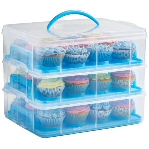 VonShef Snap and Stack Blue 3 Tier Cupcake Holder & Cake Carrier Container