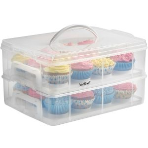 VonShef Snap and Stack Cupcake Storage Carrier 2 Tier